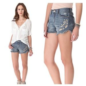 Free People Embroidered Shorts Size 30